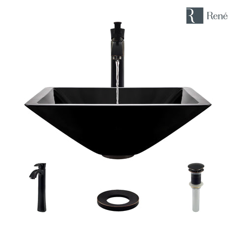 "Rene 17"" Square Glass Bathroom Sink, Noir, with Faucet, R5-5003-NOR-R9-7006-ABR"