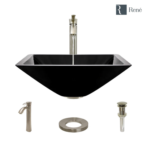 "Rene 17"" Square Glass Bathroom Sink, Noir, with Faucet, R5-5003-NOR-R9-7006-BN"