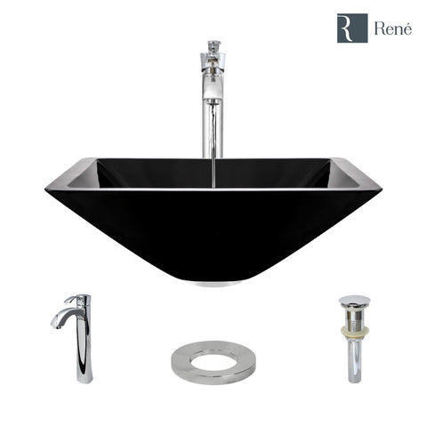 "Rene 17"" Square Glass Bathroom Sink, Noir, with Faucet, R5-5003-NOR-R9-7006-C"