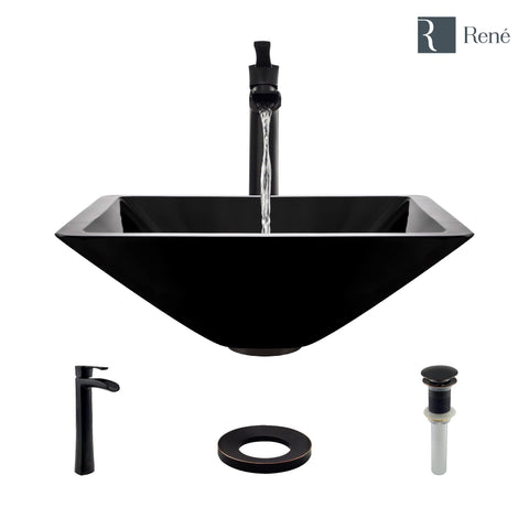 "Rene 17"" Square Glass Bathroom Sink, Noir, with Faucet, R5-5003-NOR-R9-7007-ABR"