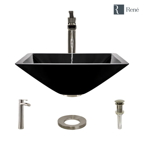 "Rene 17"" Square Glass Bathroom Sink, Noir, with Faucet, R5-5003-NOR-R9-7007-BN"