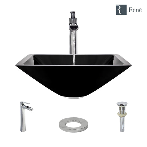 "Rene 17"" Square Glass Bathroom Sink, Noir, with Faucet, R5-5003-NOR-R9-7007-C"
