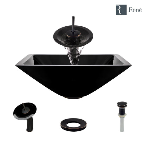 "Rene 17"" Square Glass Bathroom Sink, Noir, with Faucet, R5-5003-NOR-WF-ABR"