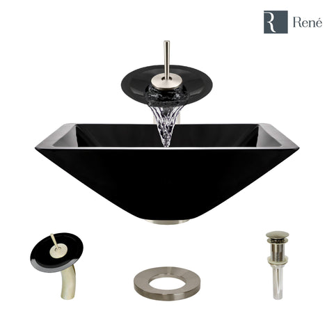 "Rene 17"" Square Glass Bathroom Sink, Noir, with Faucet, R5-5003-NOR-WF-BN"