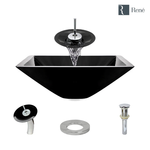 "Rene 17"" Square Glass Bathroom Sink, Noir, with Faucet, R5-5003-NOR-WF-C"