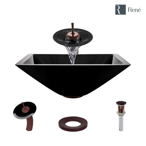 "Rene 17"" Square Glass Bathroom Sink, Noir, with Faucet, R5-5003-NOR-WF-ORB"