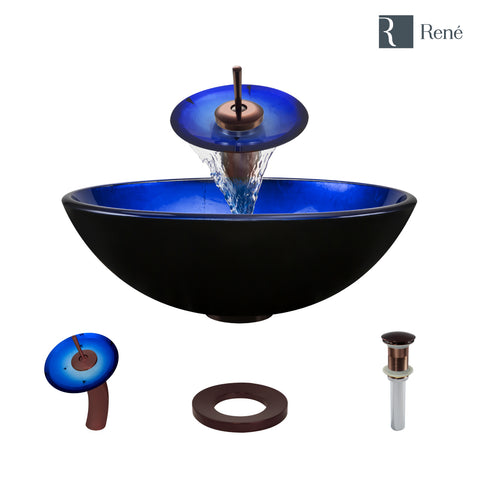 "Rene 17"" Round Glass Bathroom Sink, Gradient Blue, with Faucet, R5-5008-WF-ORB"