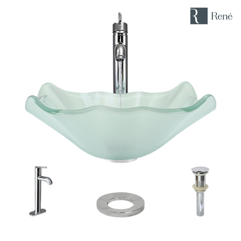 "Rene 17"" Specialty Glass Bathroom Sink, Frosted, with Faucet, R5-5011-R9-7001-C"