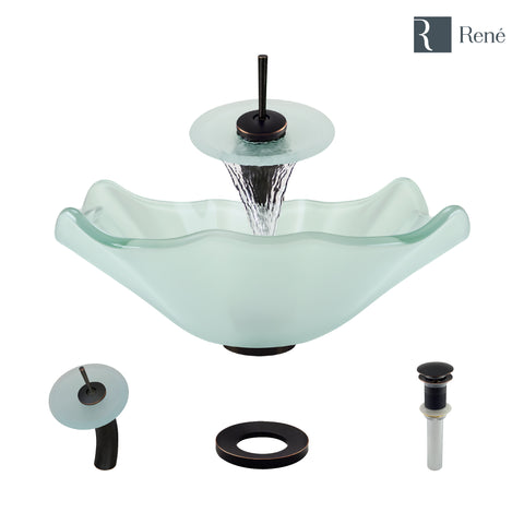 "Rene 17"" Specialty Glass Bathroom Sink, Frosted, with Faucet, R5-5011-WF-ABR"