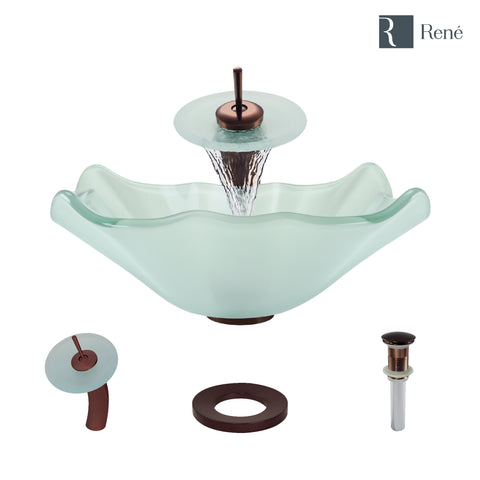 "Rene 17"" Specialty Glass Bathroom Sink, Frosted, with Faucet, R5-5011-WF-ORB"