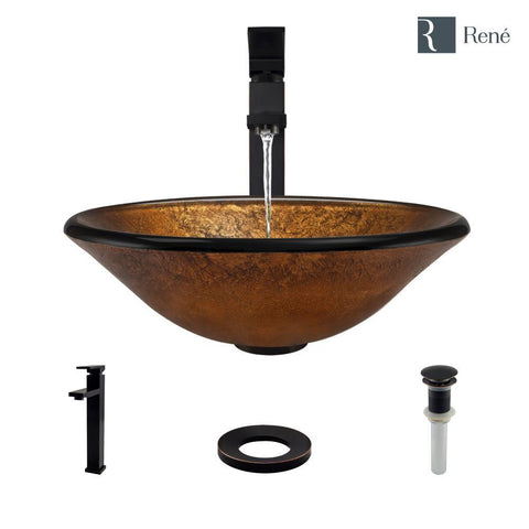 "Rene 18"" Round Glass Bathroom Sink, Orange Gold Foil, with Faucet, R5-5013-R9-7003-ABR"