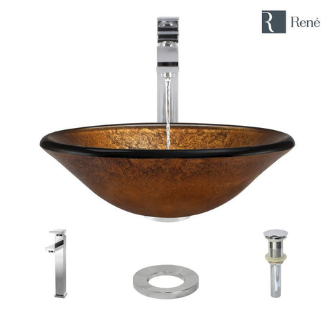 "Rene 18"" Round Glass Bathroom Sink, Orange Gold Foil, with Faucet, R5-5013-R9-7003-C"