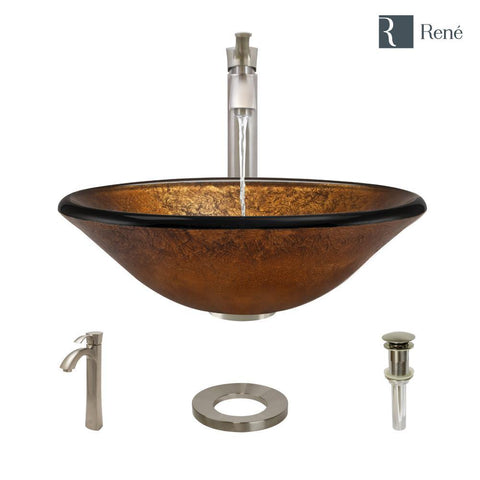 "Rene 18"" Round Glass Bathroom Sink, Orange Gold Foil, with Faucet, R5-5013-R9-7006-BN"