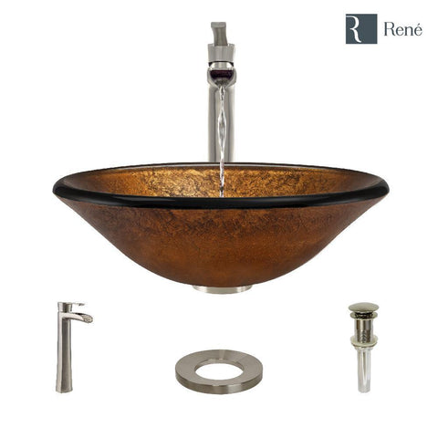 "Rene 18"" Round Glass Bathroom Sink, Orange Gold Foil, with Faucet, R5-5013-R9-7007-BN"