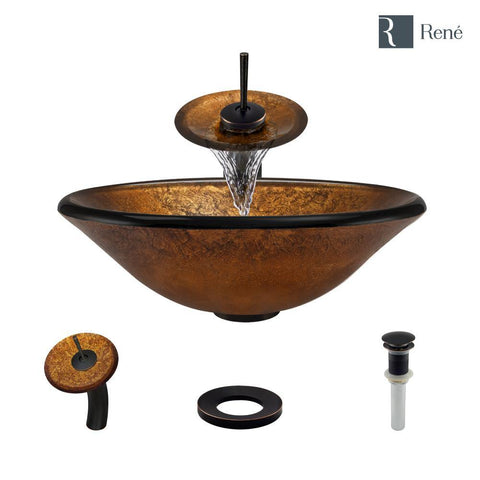 "Rene 18"" Round Glass Bathroom Sink, Orange Gold Foil, with Faucet, R5-5013-WF-ABR"