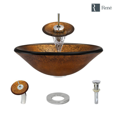 "Rene 18"" Round Glass Bathroom Sink, Orange Gold Foil, with Faucet, R5-5013-WF-C"