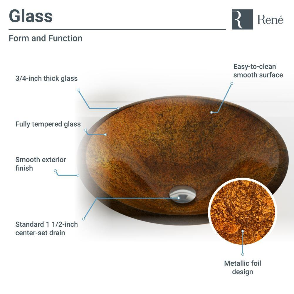 Rene 18 Round Glass Bathroom Sink Orange Gold Foil With Faucet R5 The Sink Boutique