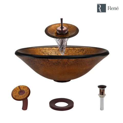 "Rene 18"" Round Glass Bathroom Sink, Orange Gold Foil, with Faucet, R5-5013-WF-ORB"