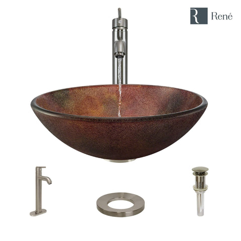"Rene 17"" Round Glass Bathroom Sink, Multi-Color, with Faucet, R5-5014-R9-7001-BN"