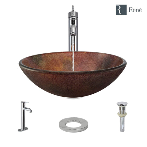 "Rene 17"" Round Glass Bathroom Sink, Multi-Color, with Faucet, R5-5014-R9-7001-C"