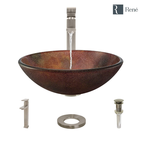 "Rene 17"" Round Glass Bathroom Sink, Multi-Color, with Faucet, R5-5014-R9-7003-BN"