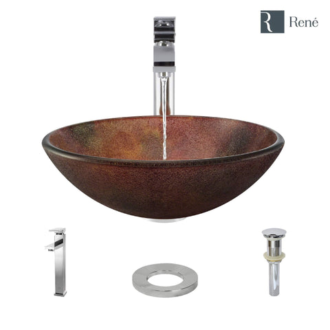 "Rene 17"" Round Glass Bathroom Sink, Multi-Color, with Faucet, R5-5014-R9-7003-C"