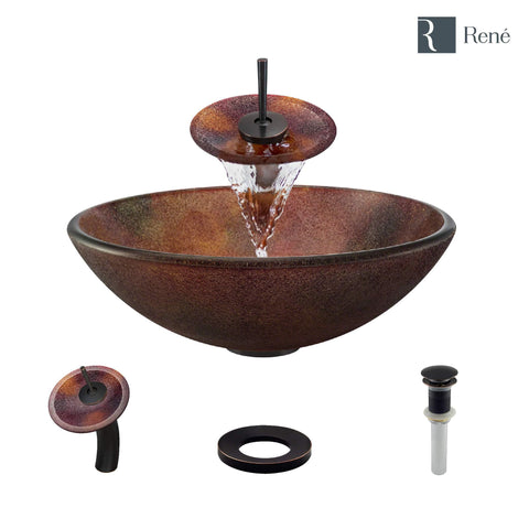 "Rene 17"" Round Glass Bathroom Sink, Multi-Color, with Faucet, R5-5014-WF-ABR"