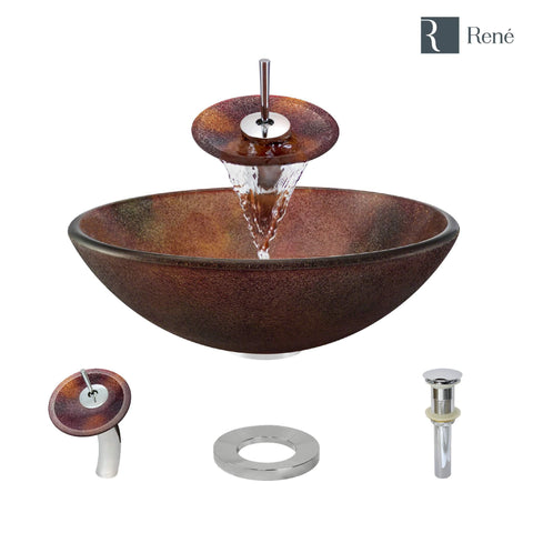 "Rene 17"" Round Glass Bathroom Sink, Multi-Color, with Faucet, R5-5014-WF-C"