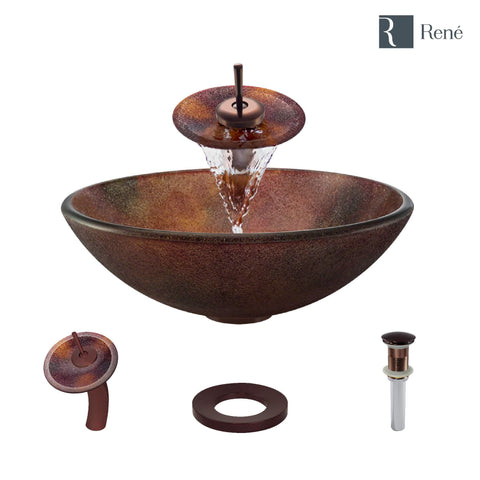 "Rene 17"" Round Glass Bathroom Sink, Multi-Color, with Faucet, R5-5014-WF-ORB"
