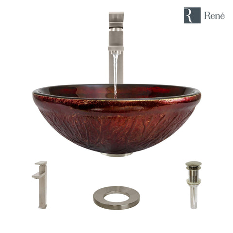"Rene 17"" Round Glass Bathroom Sink, Fiery Red, with Faucet, R5-5018-R9-7003-BN"