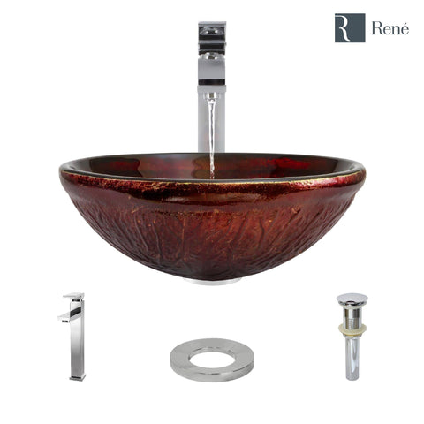 "Rene 17"" Round Glass Bathroom Sink, Fiery Red, with Faucet, R5-5018-R9-7003-C"