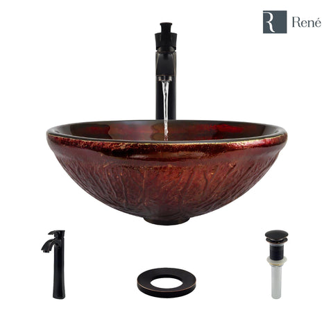 "Rene 17"" Round Glass Bathroom Sink, Fiery Red, with Faucet, R5-5018-R9-7006-ABR"