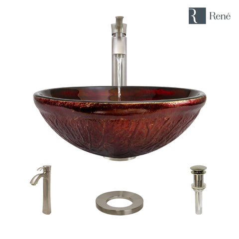 "Rene 17"" Round Glass Bathroom Sink, Fiery Red, with Faucet, R5-5018-R9-7006-BN"