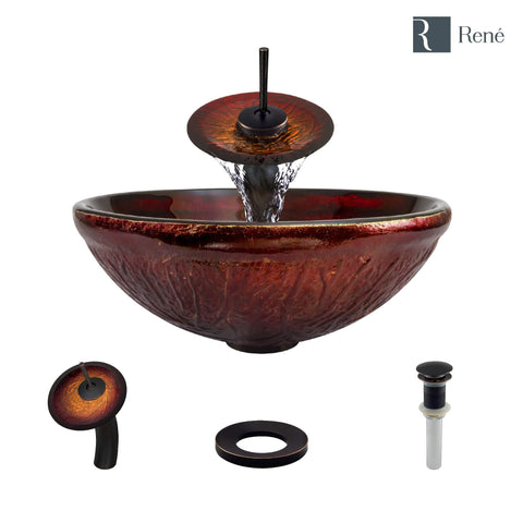 "Rene 17"" Round Glass Bathroom Sink, Fiery Red, with Faucet, R5-5018-WF-ABR"