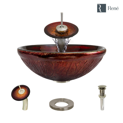 "Rene 17"" Round Glass Bathroom Sink, Fiery Red, with Faucet, R5-5018-WF-BN"