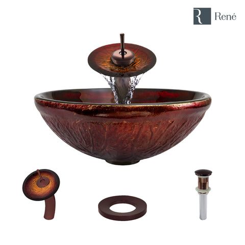 "Rene 17"" Round Glass Bathroom Sink, Fiery Red, with Faucet, R5-5018-WF-ORB"