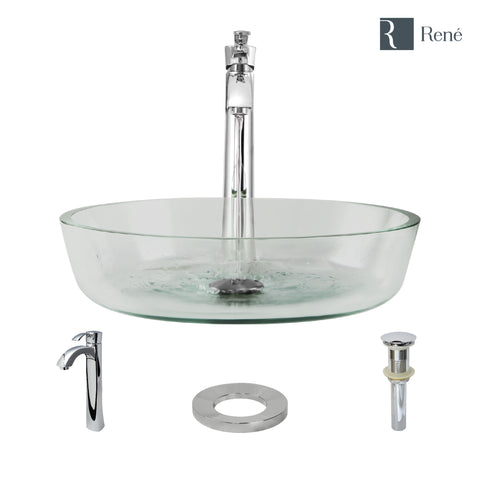 "Rene 17"" Round Glass Bathroom Sink, Crystal, with Faucet, R5-5024-R9-7006-C"