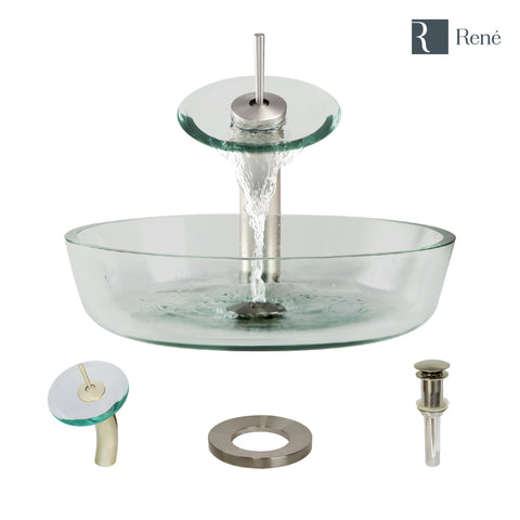 "Rene 17"" Round Glass Bathroom Sink, Crystal, with Faucet, R5-5024-WF-BN"
