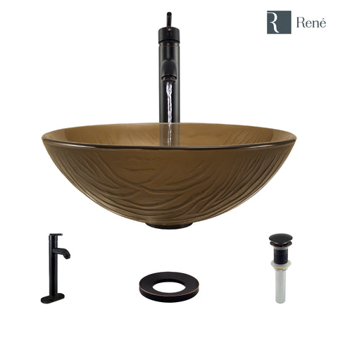 "Rene 17"" Round Glass Bathroom Sink, Beach Sand, with Faucet, R5-5025-R9-7001-ABR"