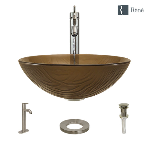 "Rene 17"" Round Glass Bathroom Sink, Beach Sand, with Faucet, R5-5025-R9-7001-BN"