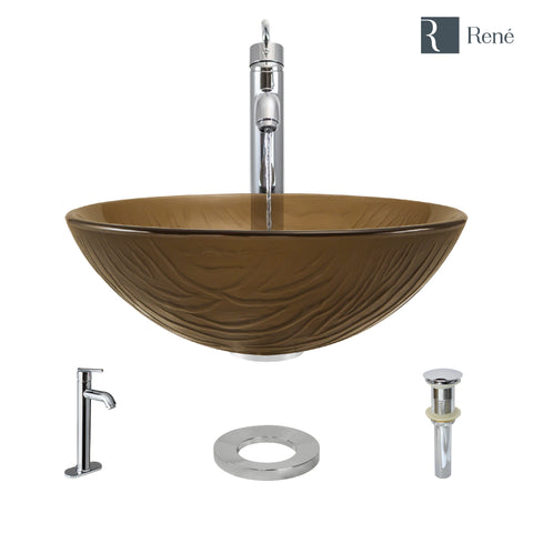 "Rene 17"" Round Glass Bathroom Sink, Beach Sand, with Faucet, R5-5025-R9-7001-C"