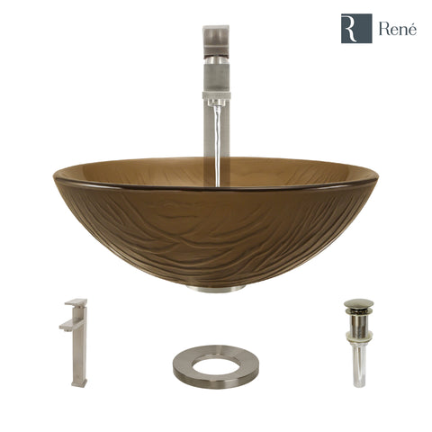 "Rene 17"" Round Glass Bathroom Sink, Beach Sand, with Faucet, R5-5025-R9-7003-BN"