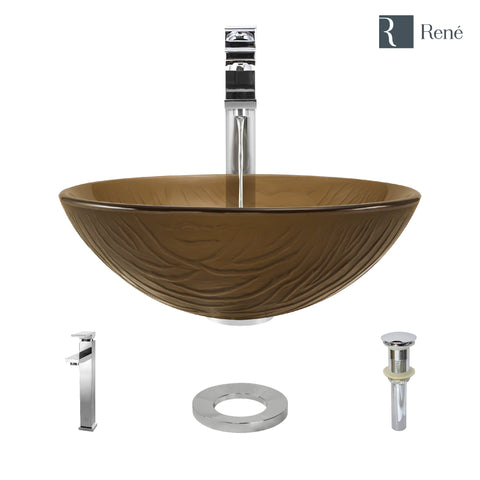 "Rene 17"" Round Glass Bathroom Sink, Beach Sand, with Faucet, R5-5025-R9-7003-C"