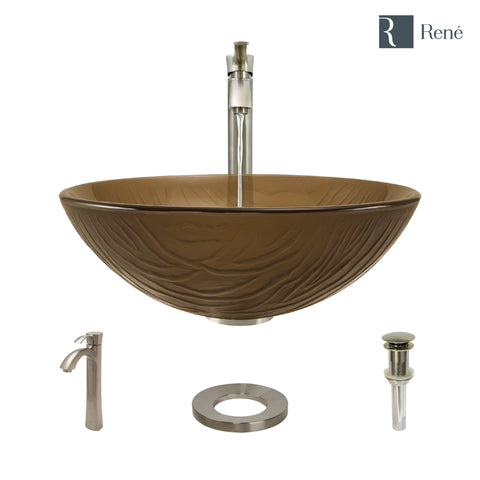 "Rene 17"" Round Glass Bathroom Sink, Beach Sand, with Faucet, R5-5025-R9-7006-BN"