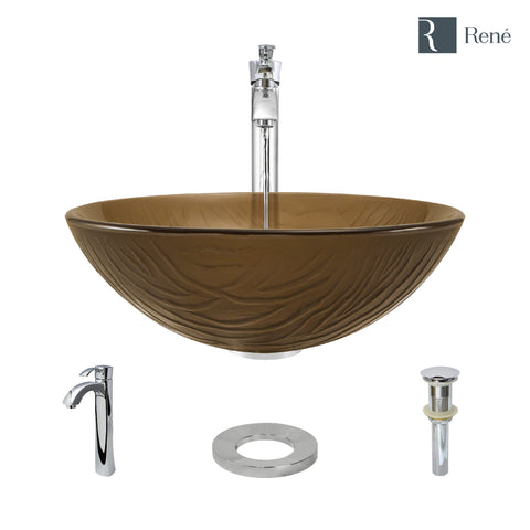 "Rene 17"" Round Glass Bathroom Sink, Beach Sand, with Faucet, R5-5025-R9-7006-C"