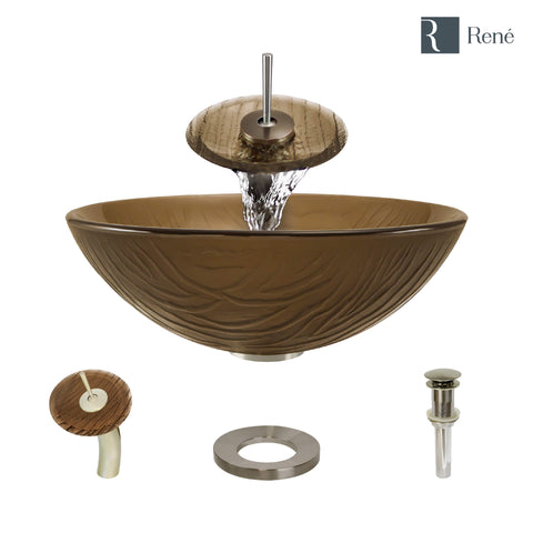 "Rene 17"" Round Glass Bathroom Sink, Beach Sand, with Faucet, R5-5025-WF-BN"