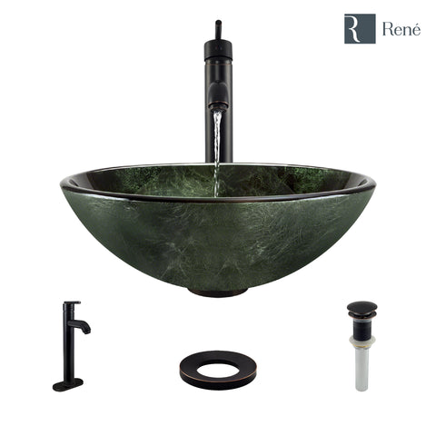 "Rene 17"" Round Glass Bathroom Sink, Forest Green, with Faucet, R5-5027-R9-7001-ABR"