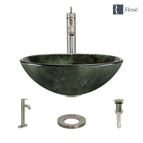 "Rene 17"" Round Glass Bathroom Sink, Forest Green, with Faucet, R5-5027-R9-7001-BN"