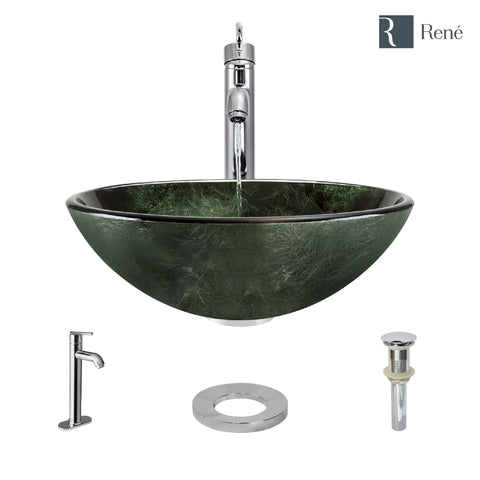 "Rene 17"" Round Glass Bathroom Sink, Forest Green, with Faucet, R5-5027-R9-7001-C"