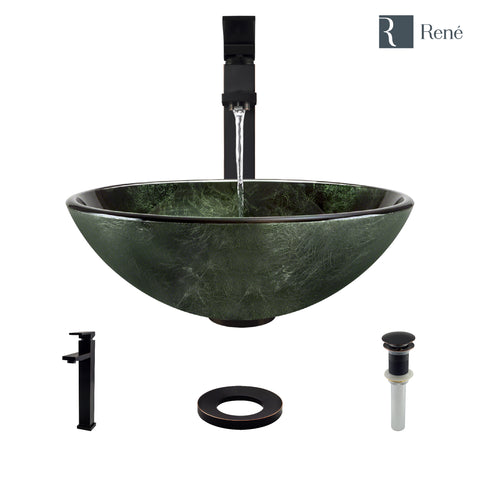 "Rene 17"" Round Glass Bathroom Sink, Forest Green, with Faucet, R5-5027-R9-7003-ABR"